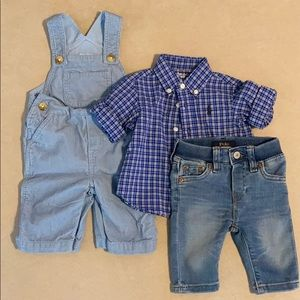 Polo jeans, overalls & button up shirt 3-6 months